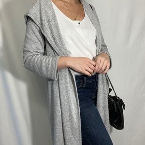 oversized gray hooded long cardigan with pockets